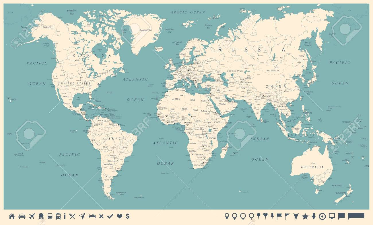 Vintage World Map And Markers Detailed Vector Illustration Royalty