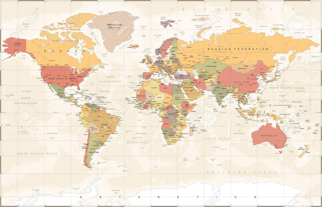 Vintage world map detailed vector illustration royalty free vector vintage world map detailed vector illustration gumiabroncs Images