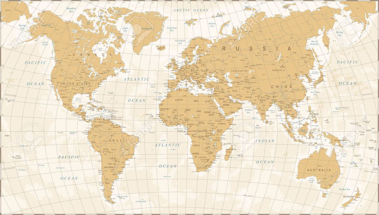 Vintage World Map Detailed Vector Illustration Royalty Free