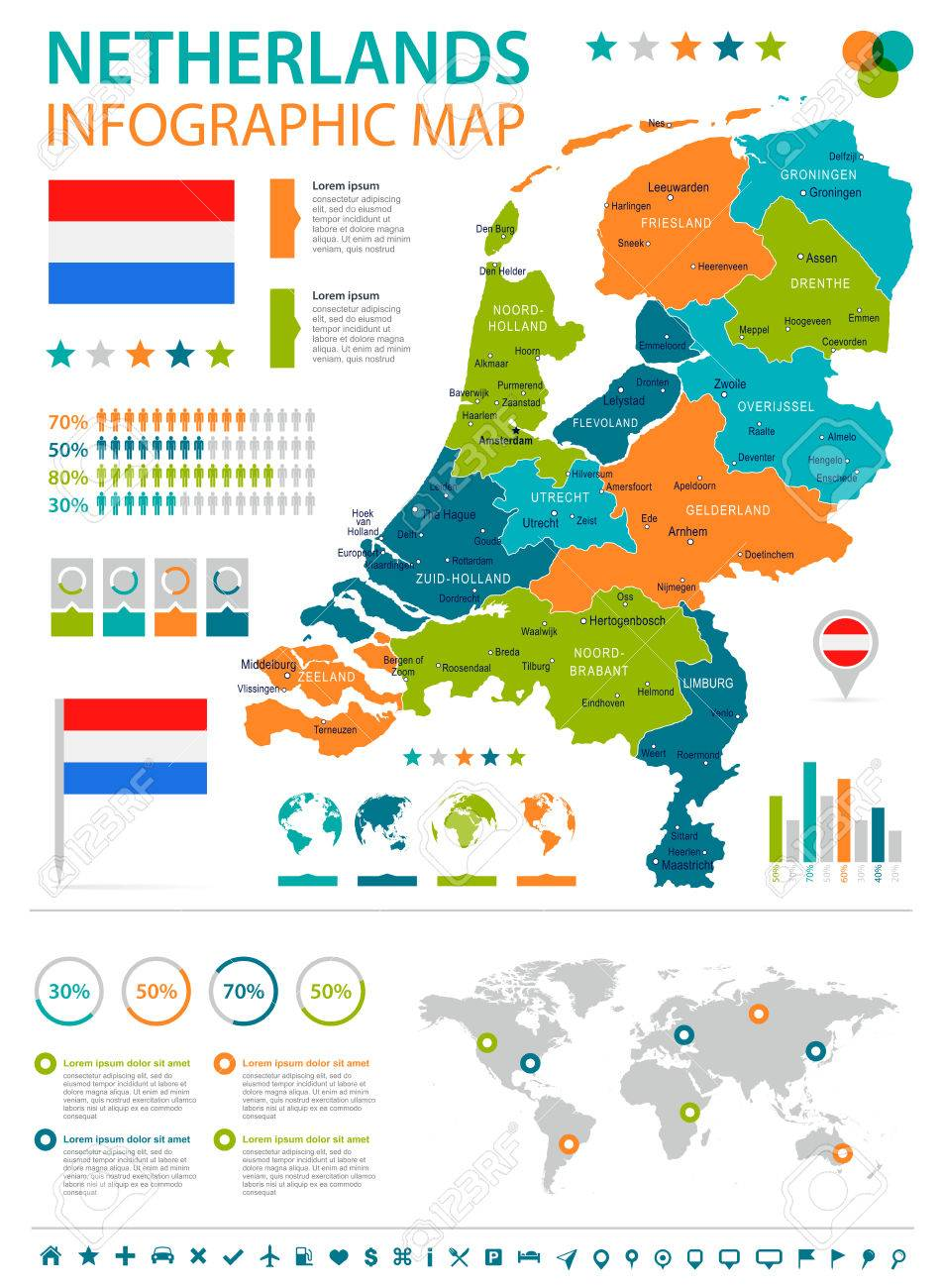 Netherlands Infographic Map And Flag Vector Illustration Royalty