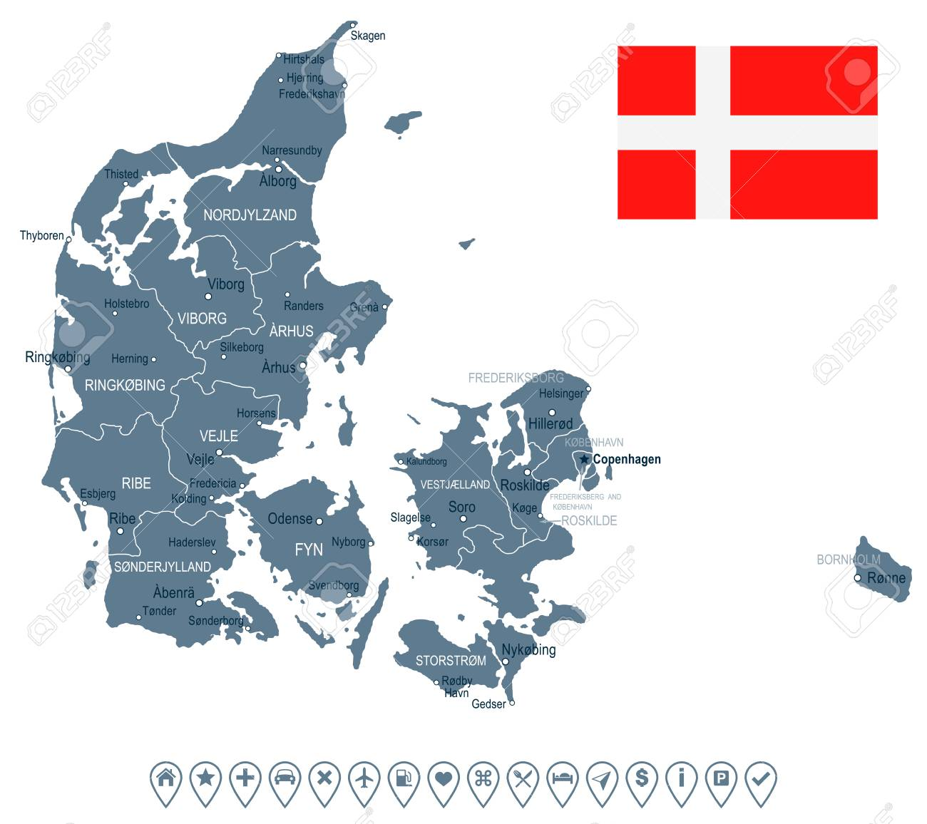 Denmark Map And Flag - Vector Illustration Royalty Free Cliparts ...