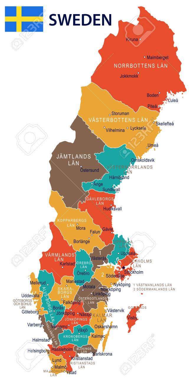 suecia mapa Suecia Mapa Y La Bandera   Ilustración Vectorial Ilustraciones  suecia mapa