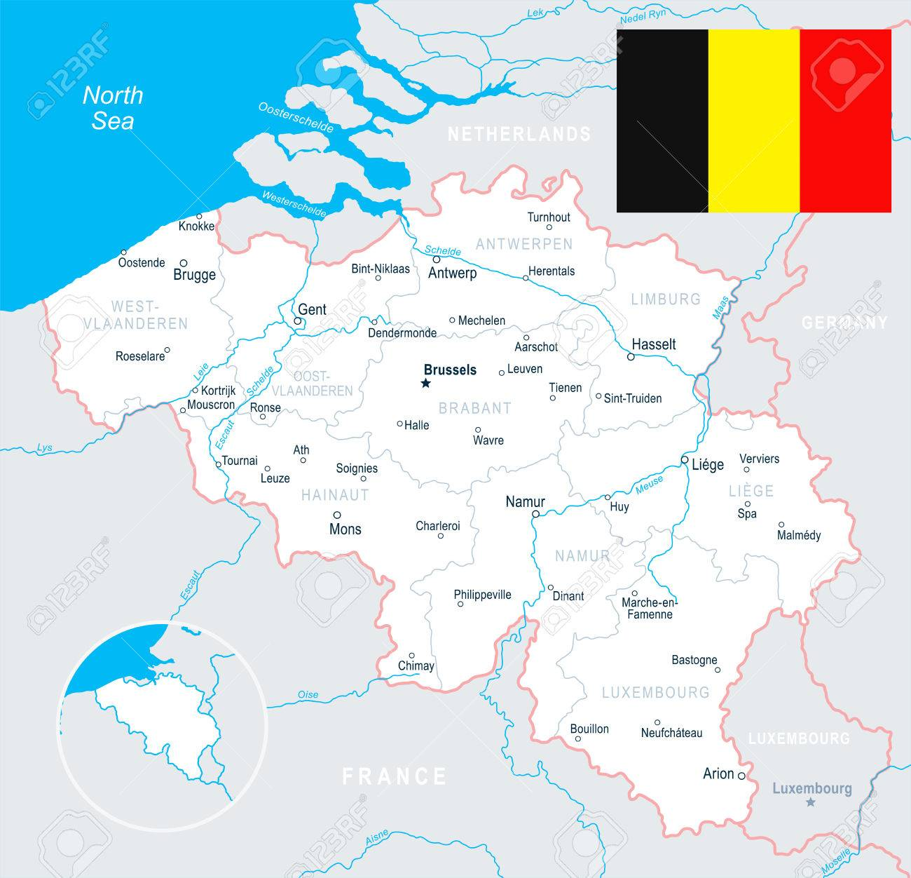 Brussels Antwerp Gent Bruges Map And Flag Vector Illustration