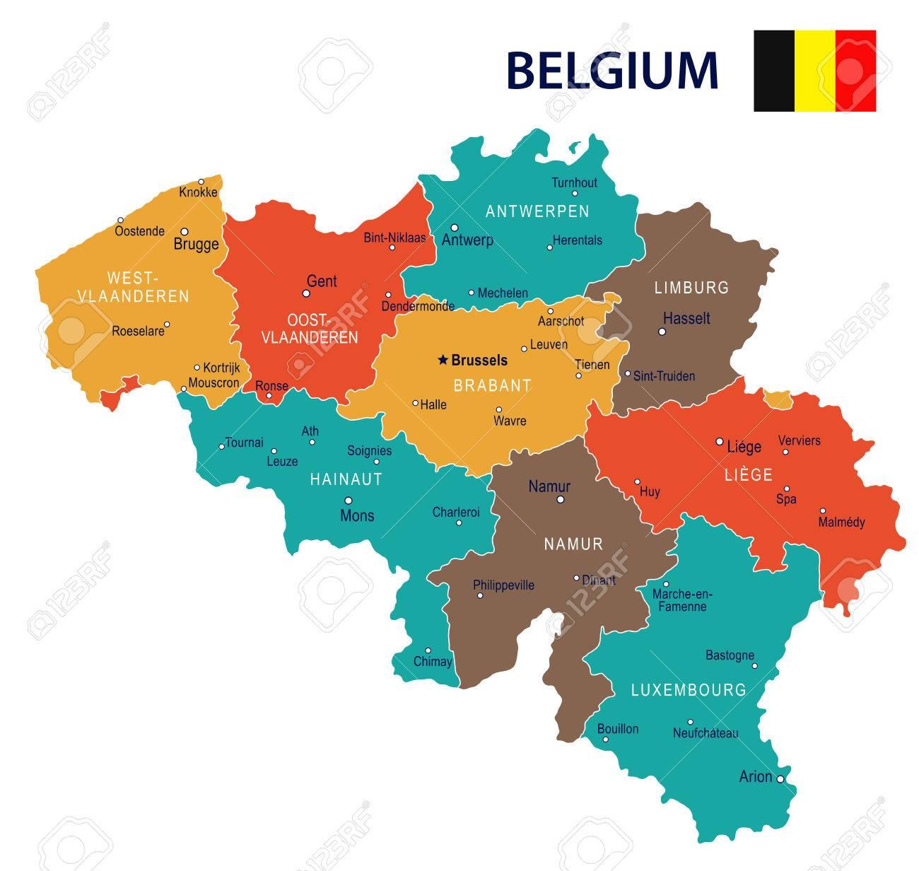 Belgica Mapa Y La Bandera Ilustracion Vectorial Ilustraciones