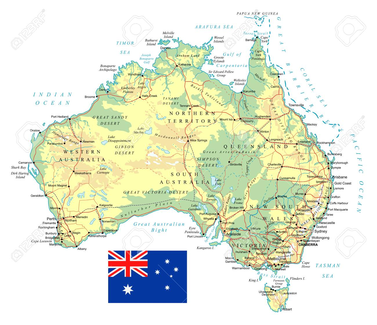 Road Map Australia.Large Detailed Road Map Of Australia And National Flag Royalty Free