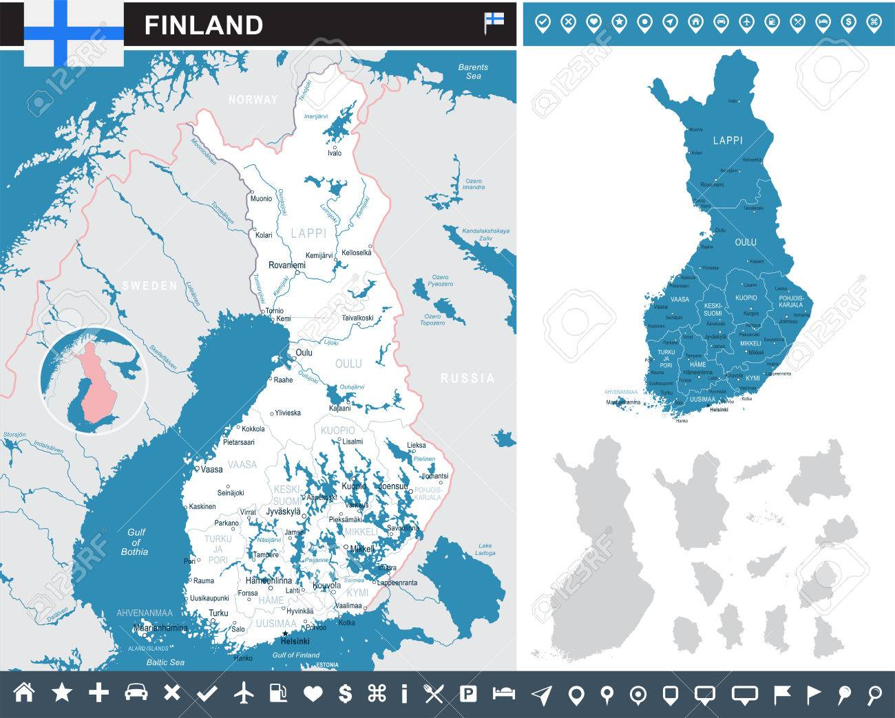 Finland Infographic Map And Flag Vector Illustration Royalty Free