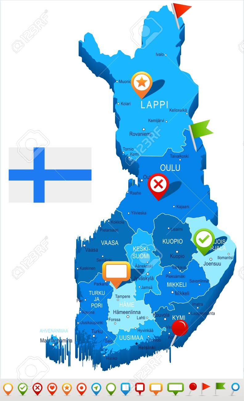 Finland Map And Flag Vector Illustration Royalty Free Cliparts