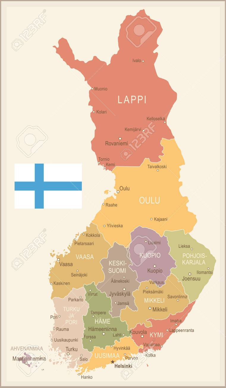 Finland Vintage Map And Flag Vector Illustration Royalty Free