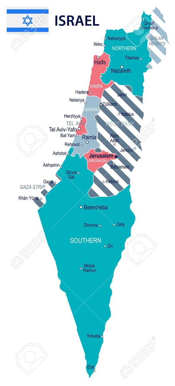 Israel Map And Flag - Vector Illustration Royalty Free Cliparts ...