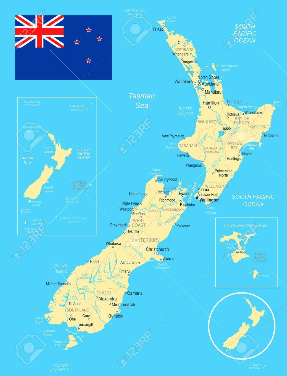 Nueva Zelanda Mapa Y Bandera - Ilustración Vectorial Ilustraciones Vectoriales, Clip Art Vectorizado Libre De Derechos. Image 82897795.