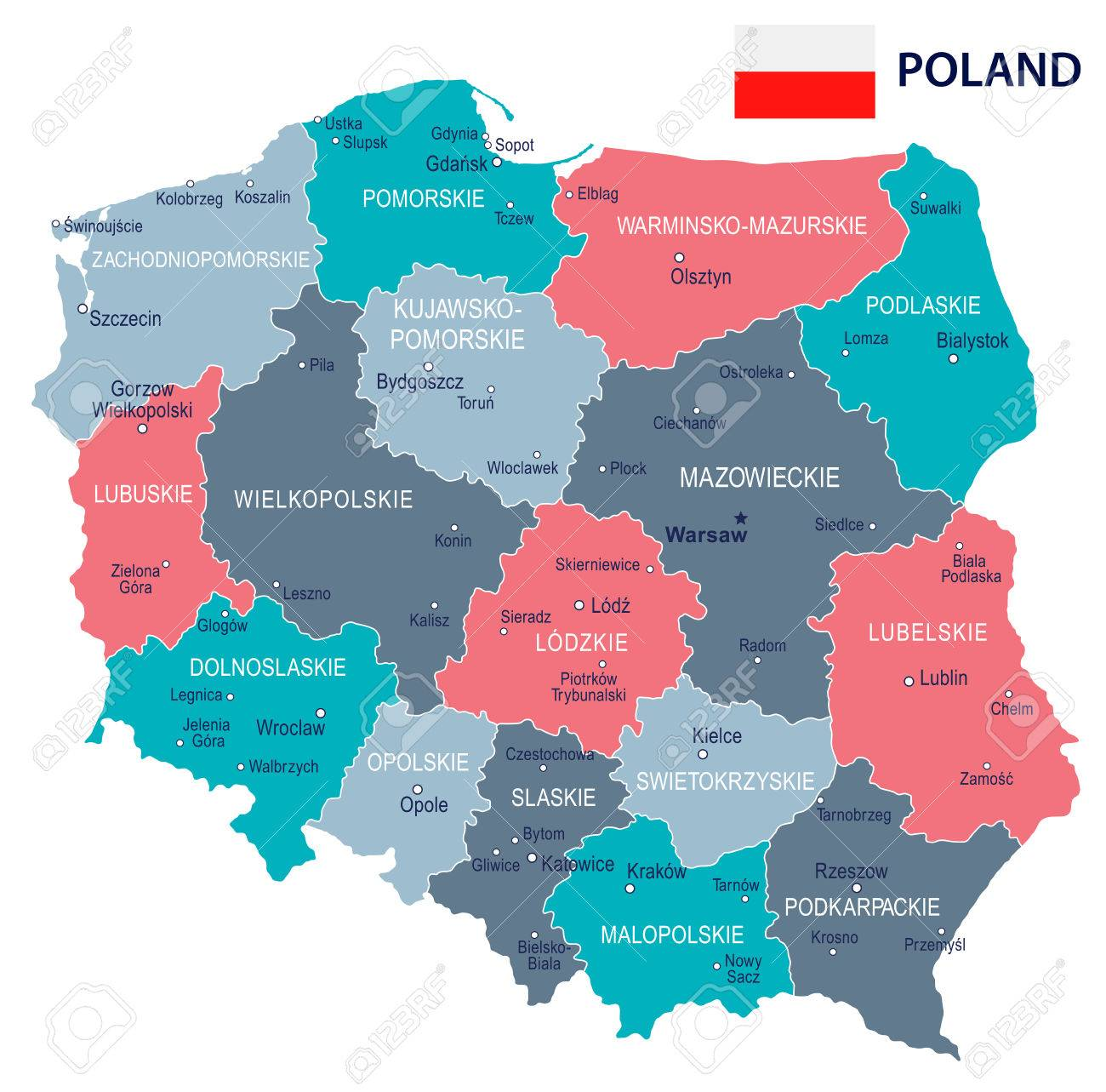 Poland Map And Flag Illustration Royalty Free Cliparts Vectors
