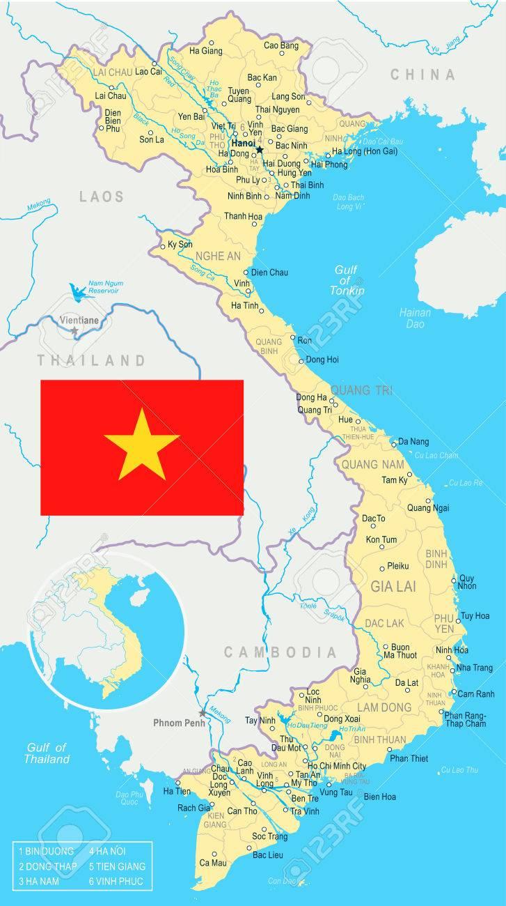 Nha Trang Vietnam Map.Vietnam Map And Flag Vector Illustration Royalty Free Cliparts