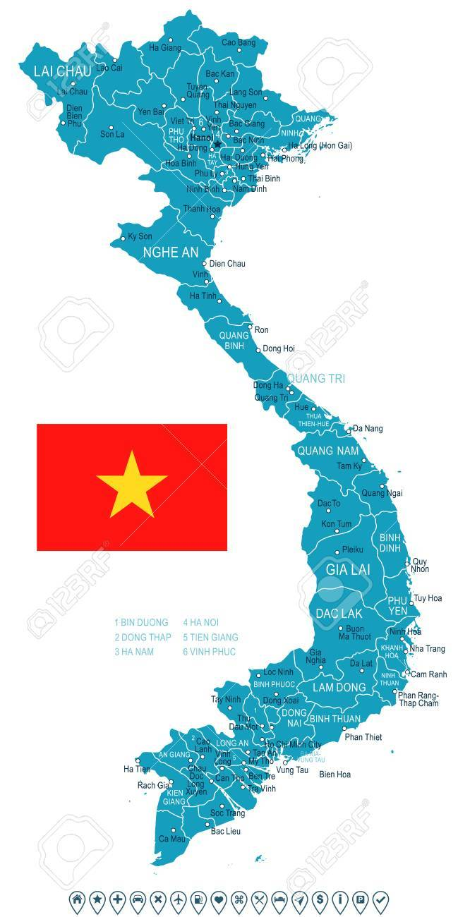 Vietnam Map And Flag Vector Illustration Royalty Free Cliparts