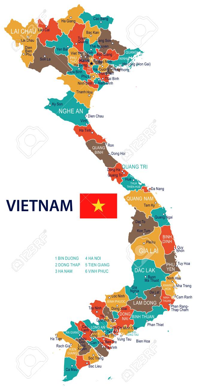 Vietnam Map And Flag - Vector Illustration Royalty Free Cliparts ...