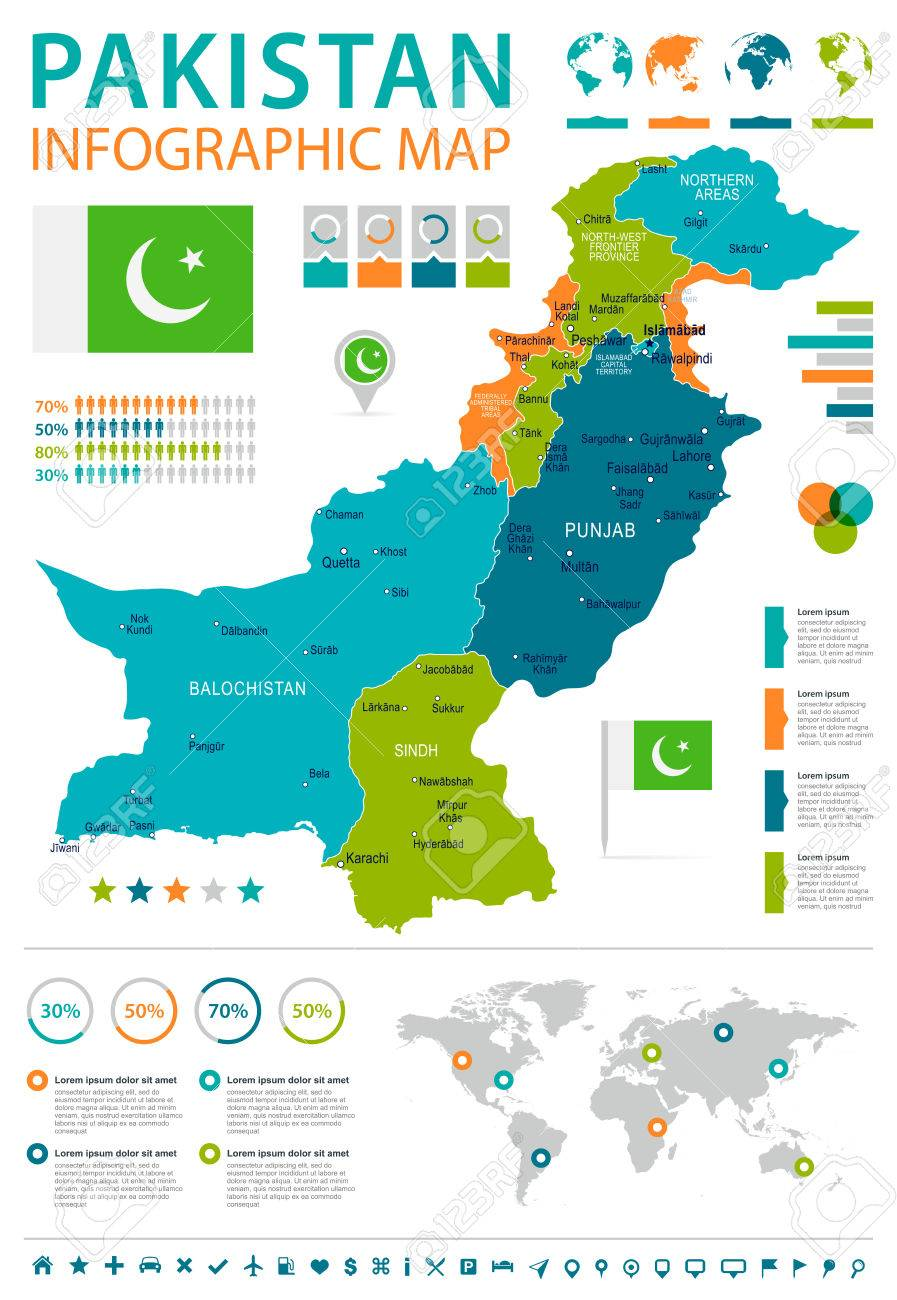 Pakistan infographic map and flag - vector illustration