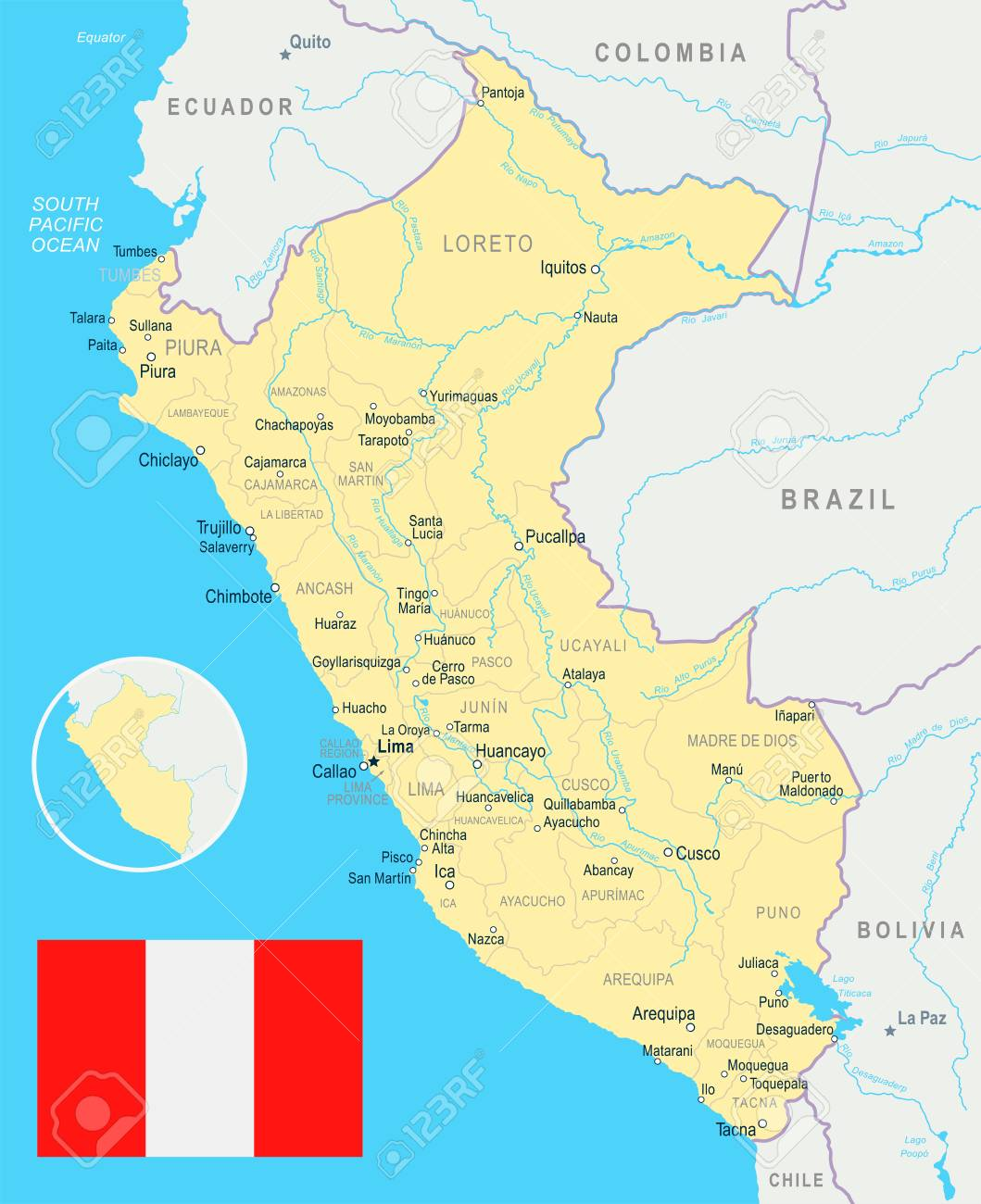 Peru Map And Flag Vector Illustration Royalty Free Cliparts