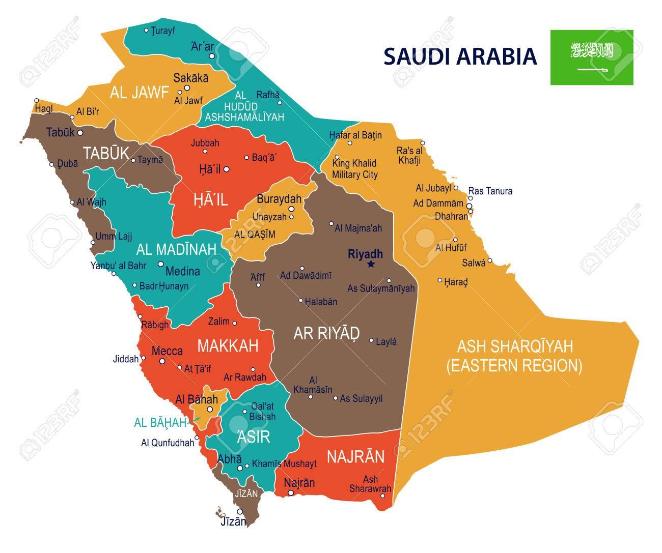 Saudi Arabia Map And Flag - Vector Illustration Royalty Free ...