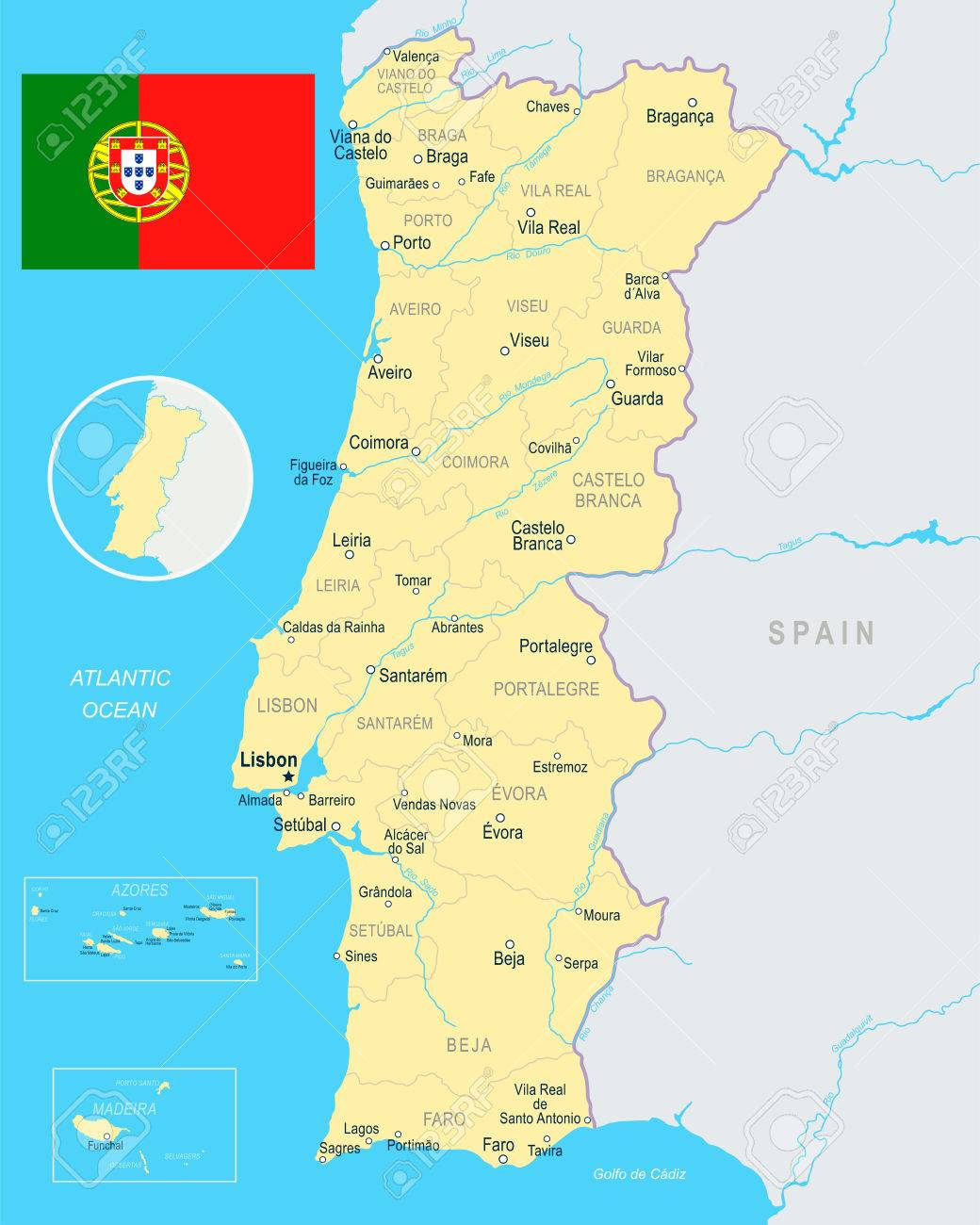 Portugal Map And Flag Vector Illustration Royalty Free Cliparts