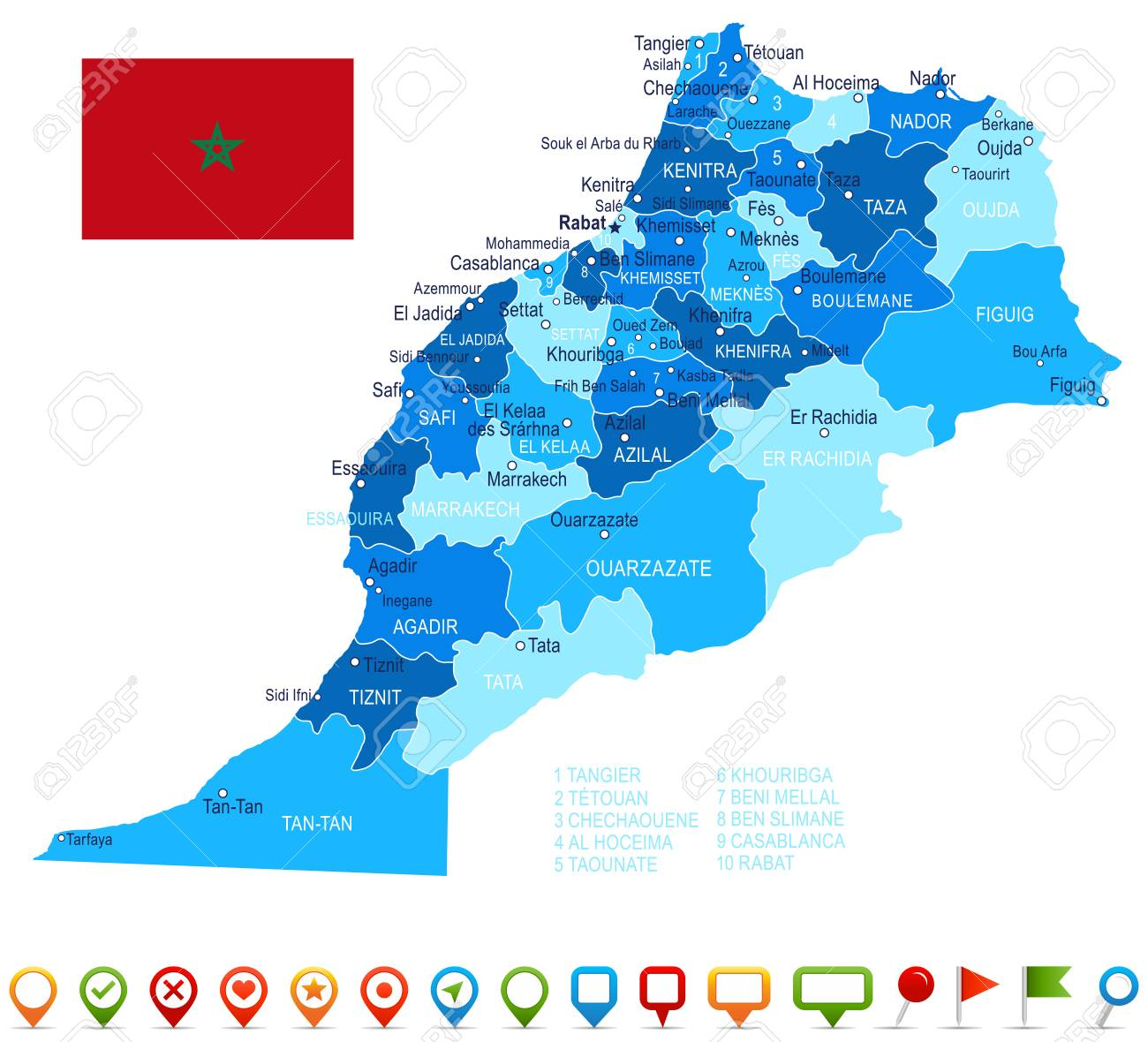 Morocco Map And Flag Vector Illustration Royalty Free Cliparts