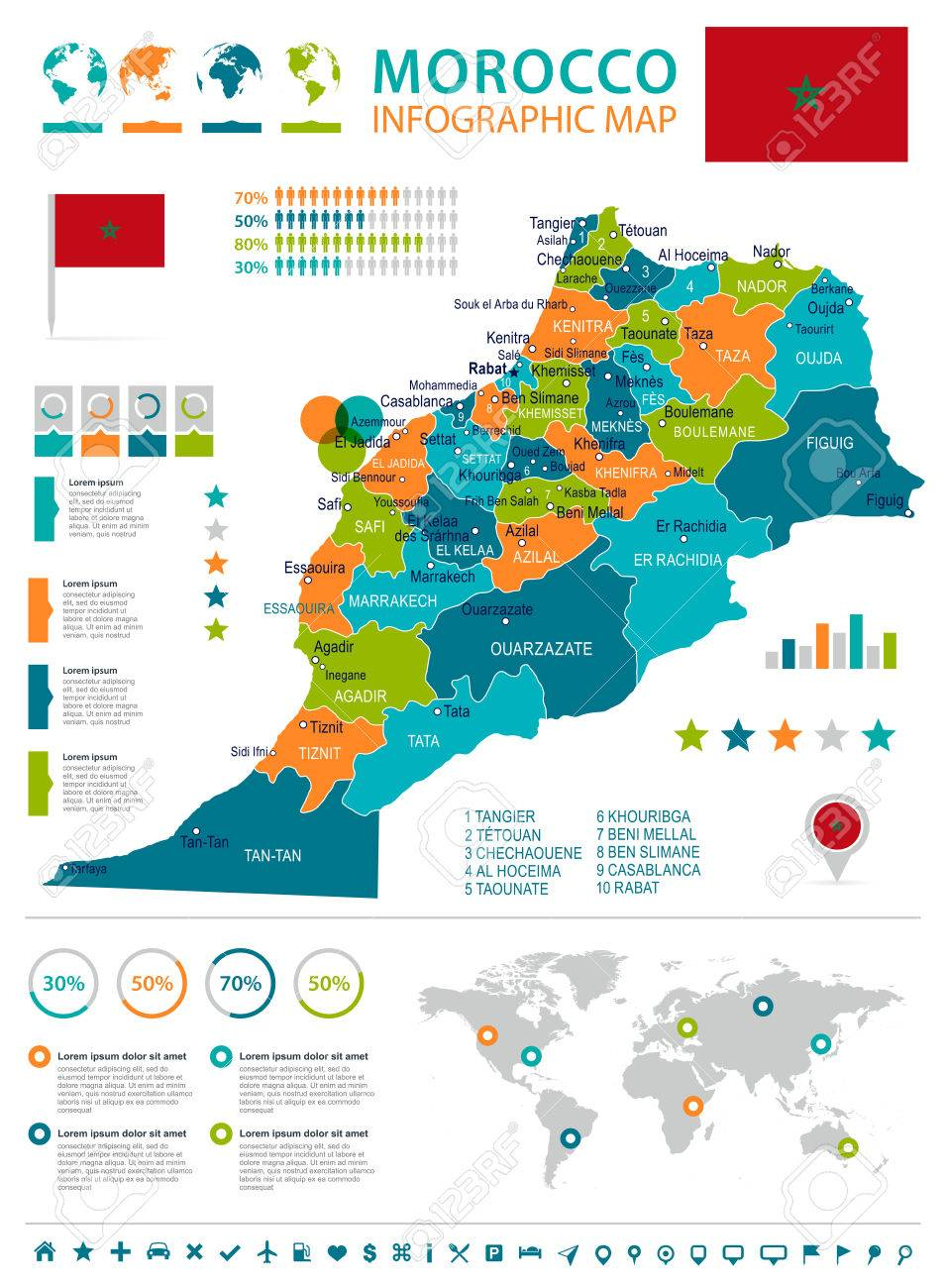 Morocco Infographic Map And Flag Vector Illustration Royalty Free