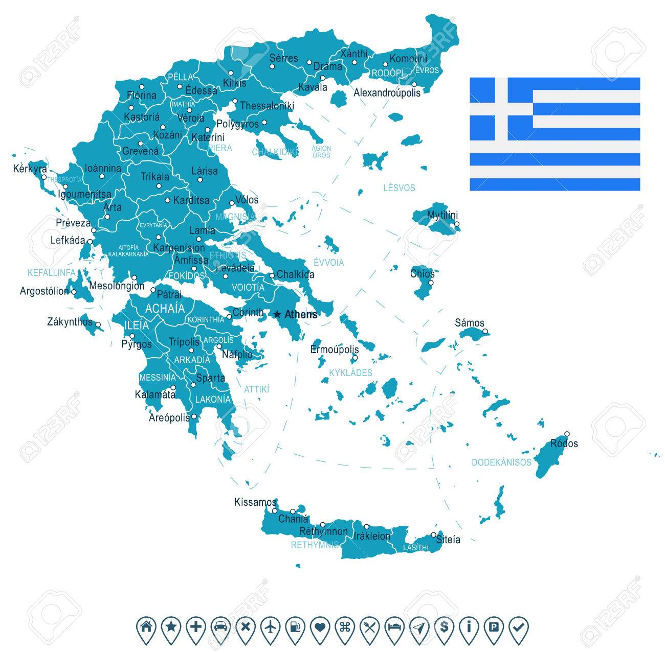 Greece Map And Flag - Vector Illustration Royalty Free Cliparts ...