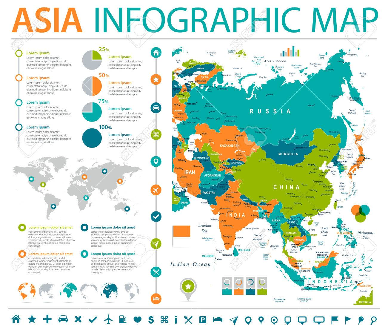 asia map detailed info graphic vector illustration stock vector 85308708