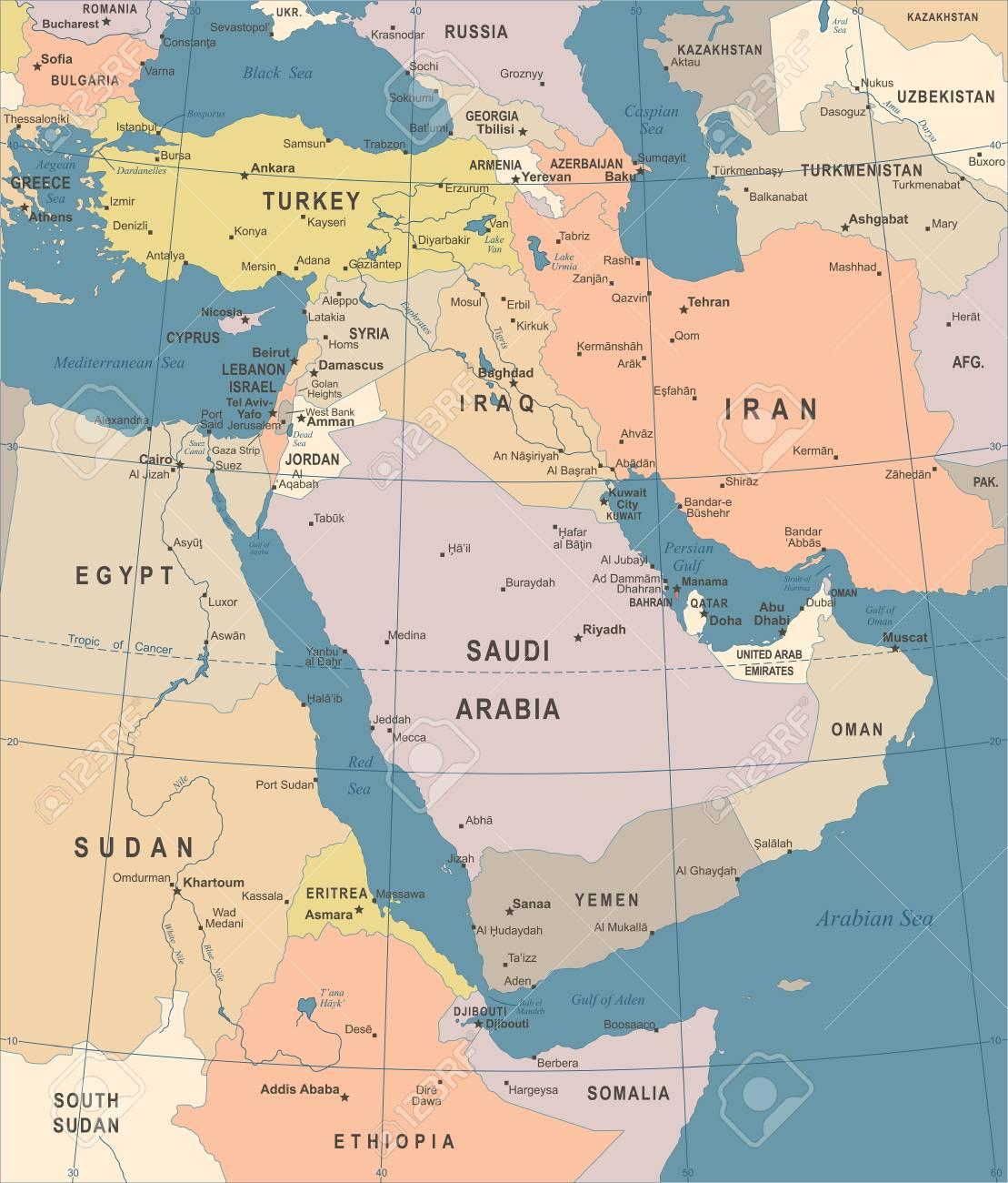 Mapa De Oriente Medio Vintage Ilustracion Vectorial Detallada