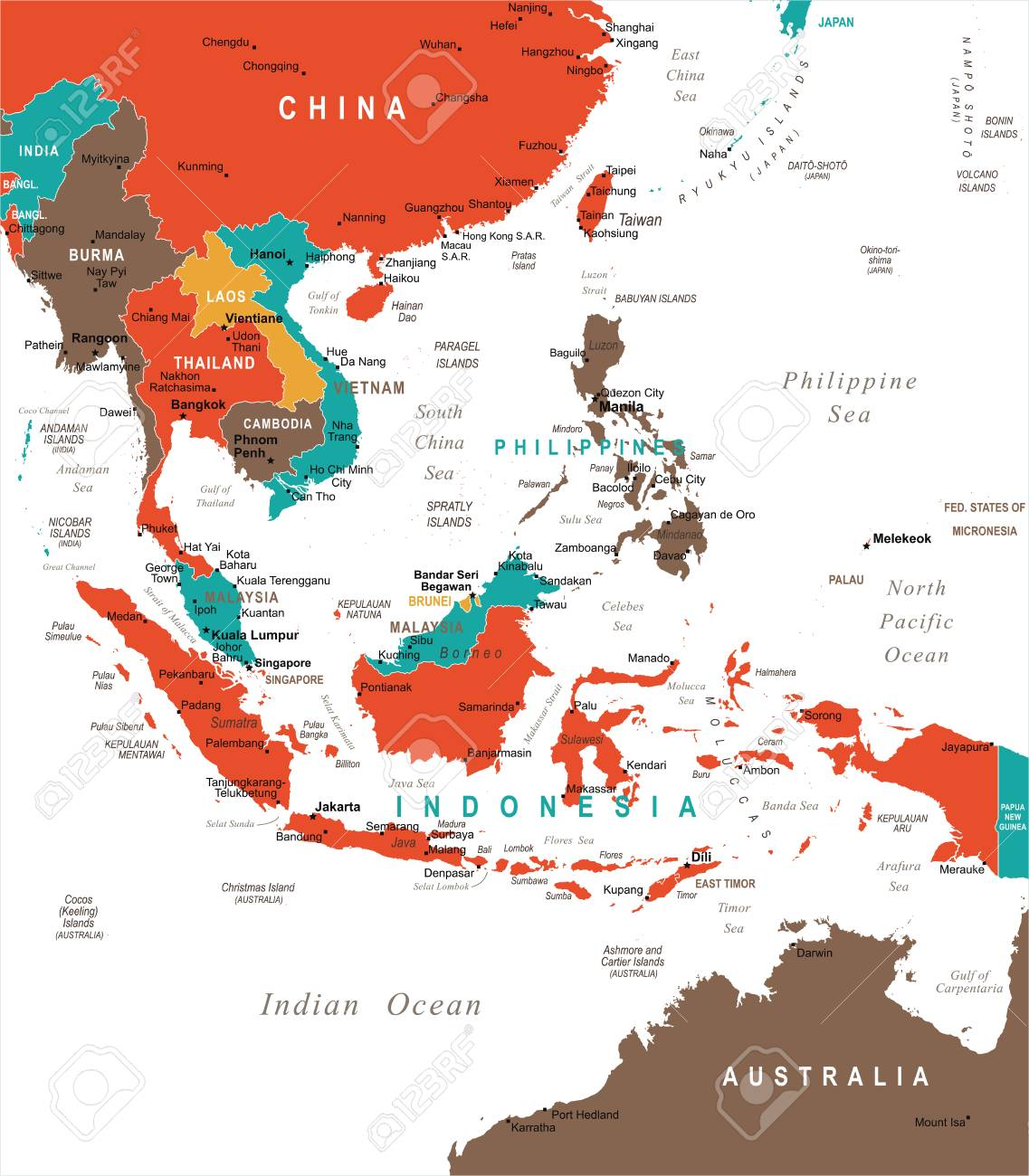 Map Of Asia Australia.Southeast Asia Map Detailed Vector Illustration