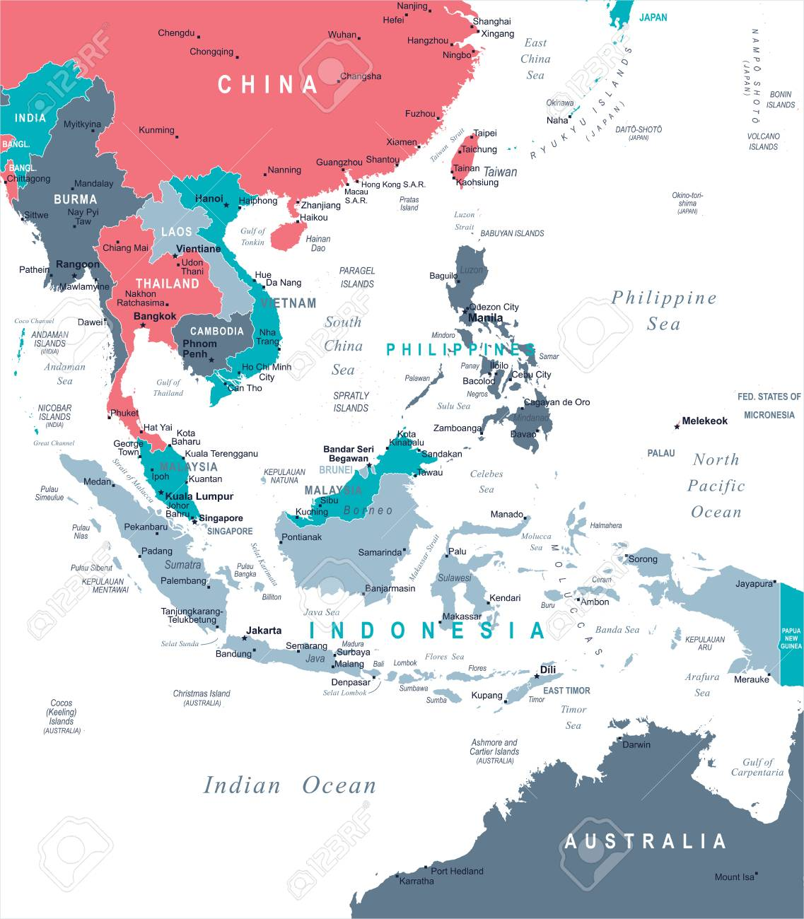 Detailed Map Of Asia.Southeast Asia Map Detailed Vector Illustration