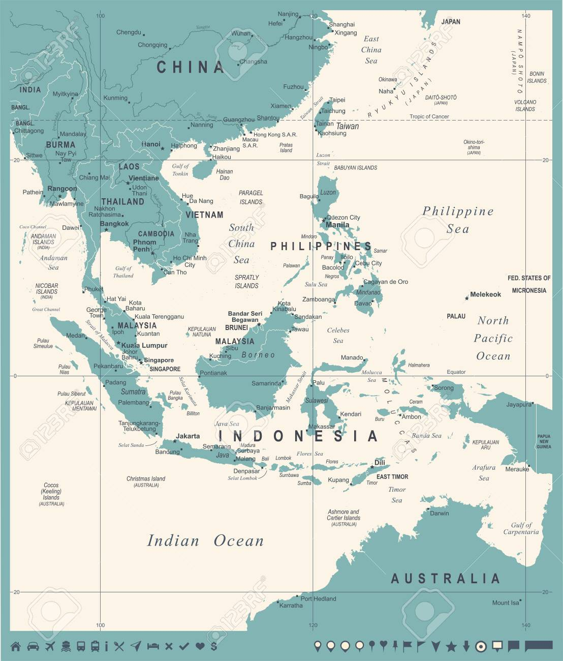 southeast asia map vintage detailed vector illustration stock vector 84928995