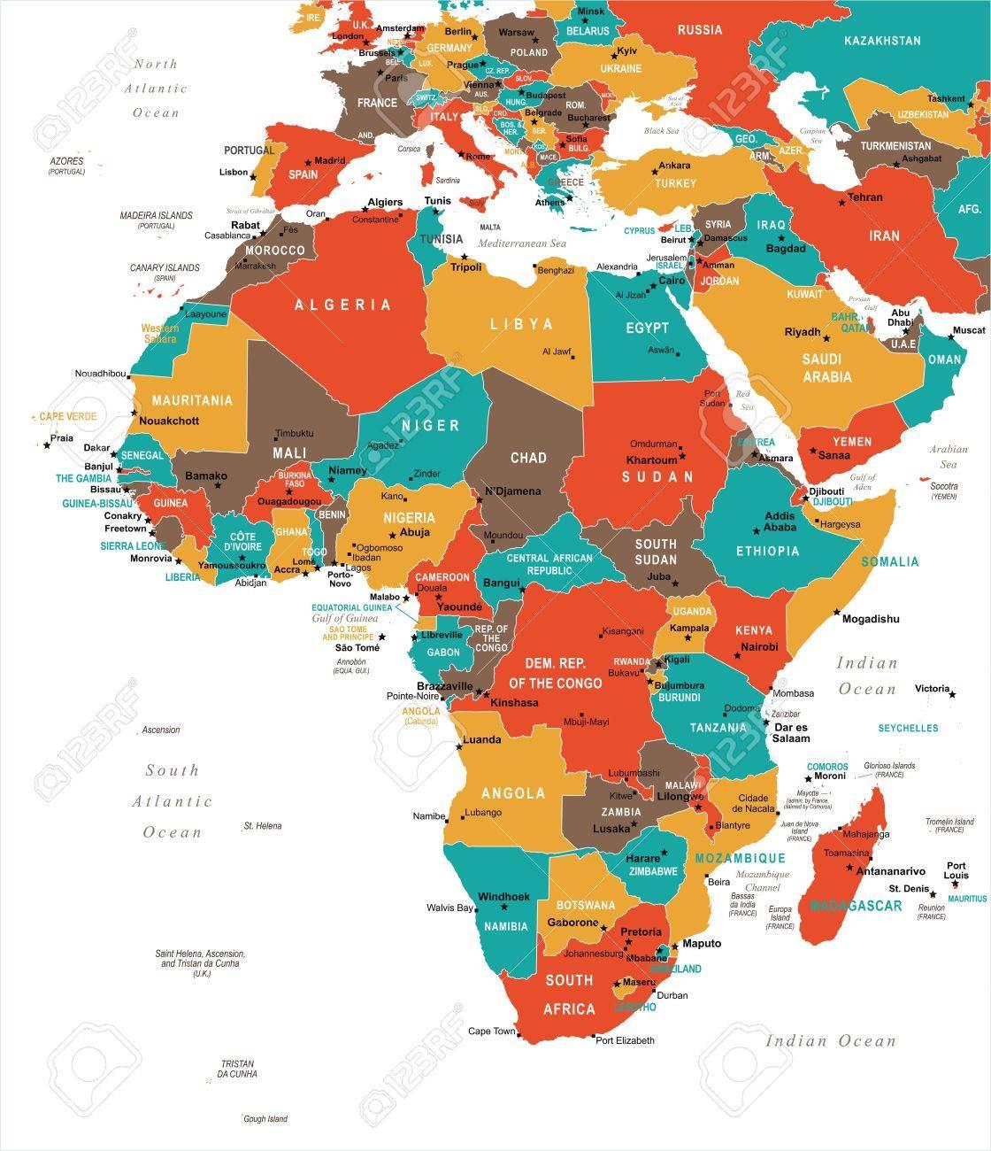Carte Afrique Vectorielle.Carte De L Afrique Illustration Vectorielle Detaillee