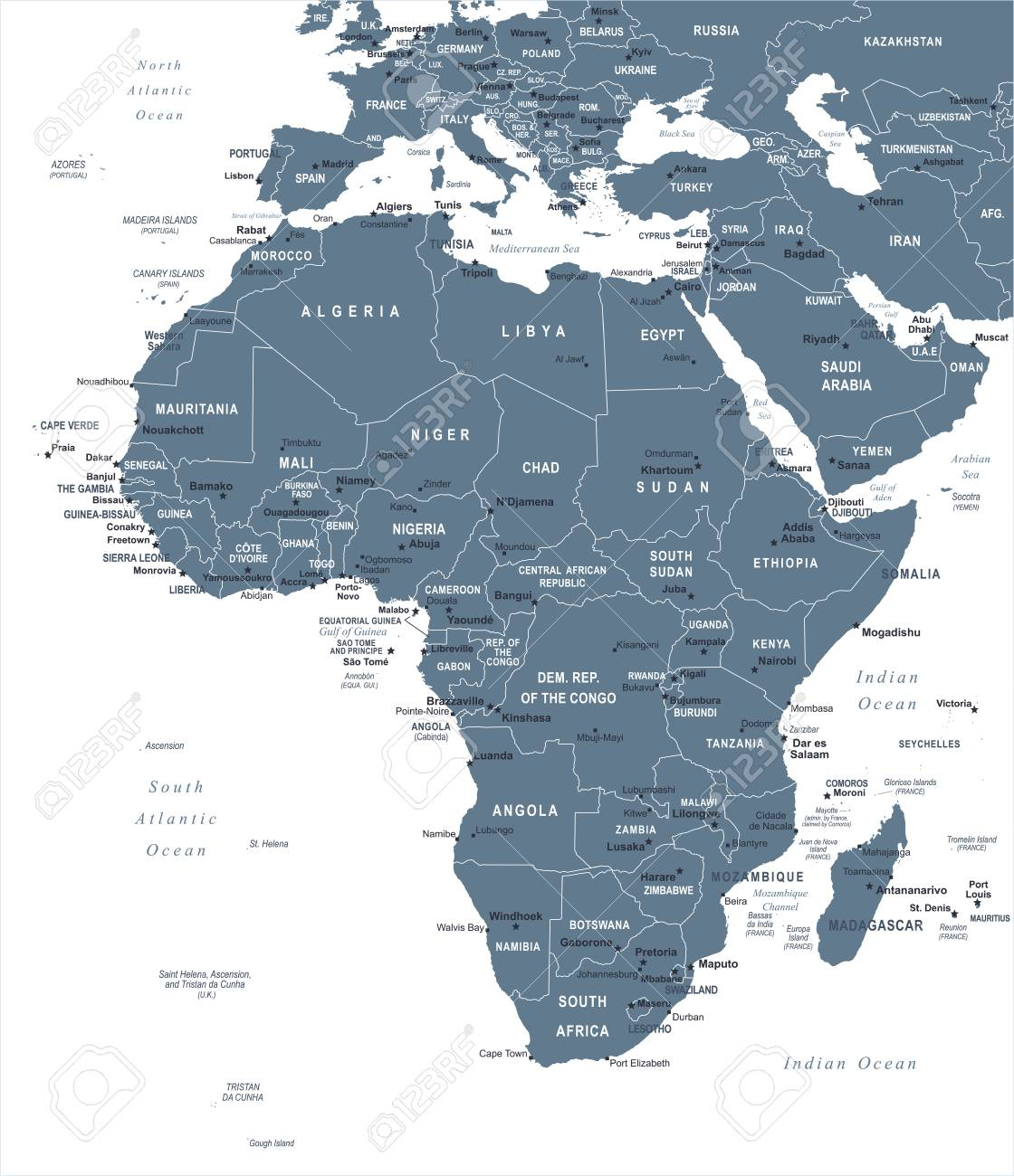 Africa Map Islands Africa Map Detailed Vector
