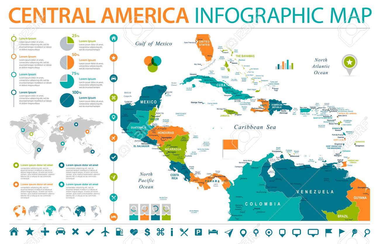 Central America Map - Detailed Info Graphic Vector Illustration ...