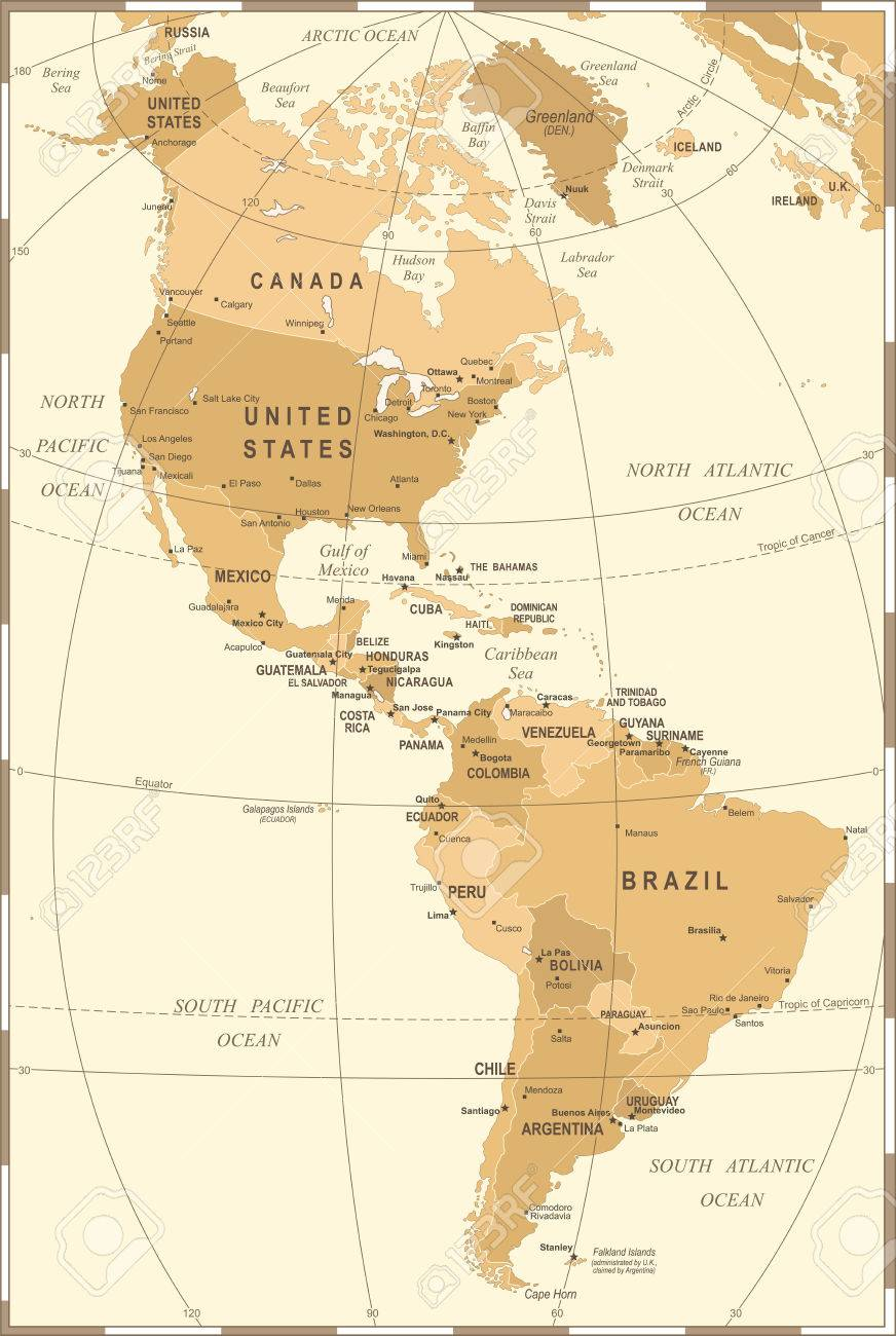 North And South America Map Vintage Detailed Vector Illustration