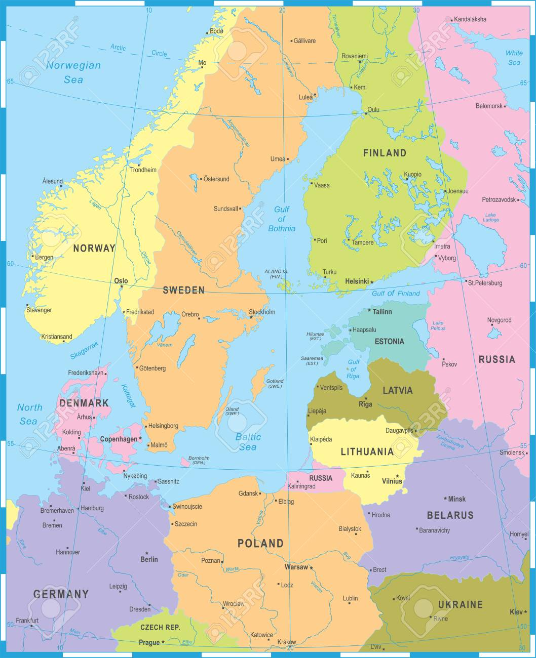 Baltic Sea Area Map - Detailed Vector Illustration Royalty Free ...