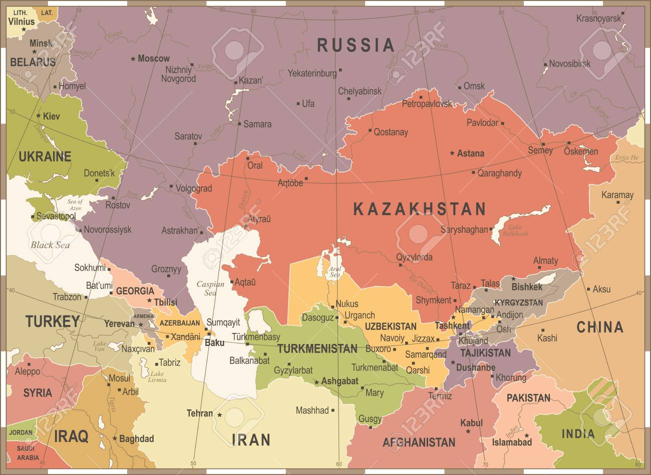 Caucasus And Central Asia Map - Vintage Detailed Vector Illustration ...