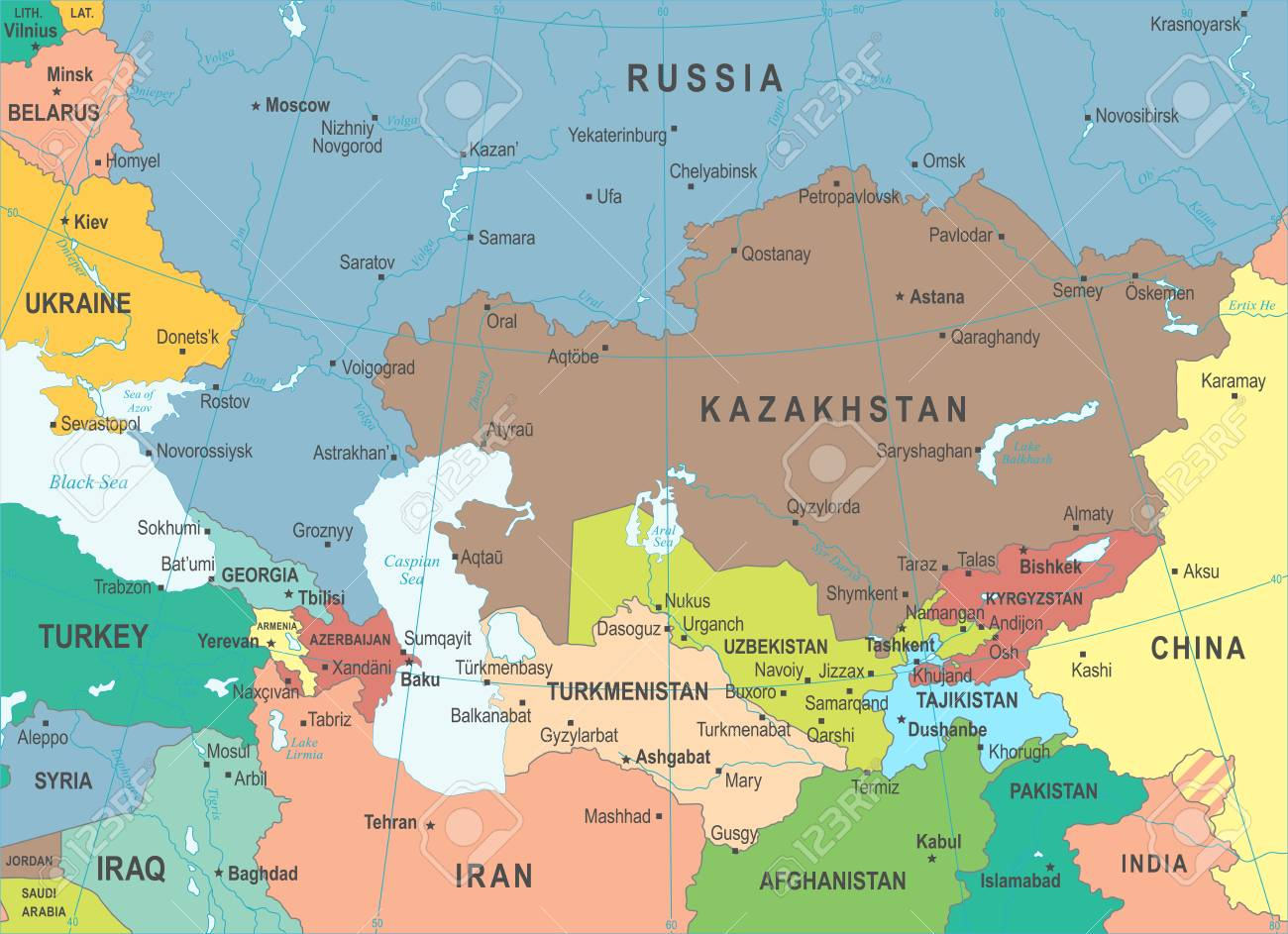 Caucasus And Central Asia Map - Detailed Vector Illustration Royalty ...