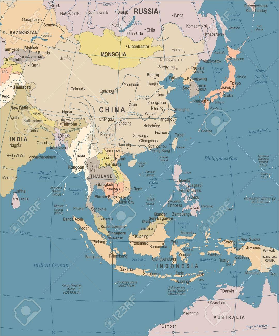 carte asie de l est Carte De L'Asie De L'Est   Vintage Vector Illustration Détaillée