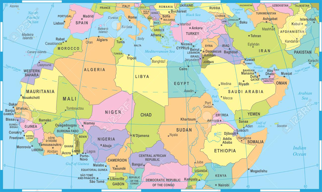 carte du nord détaillée Carte Afrique Du Nord   Illustration Vectorielle Détaillée Clip