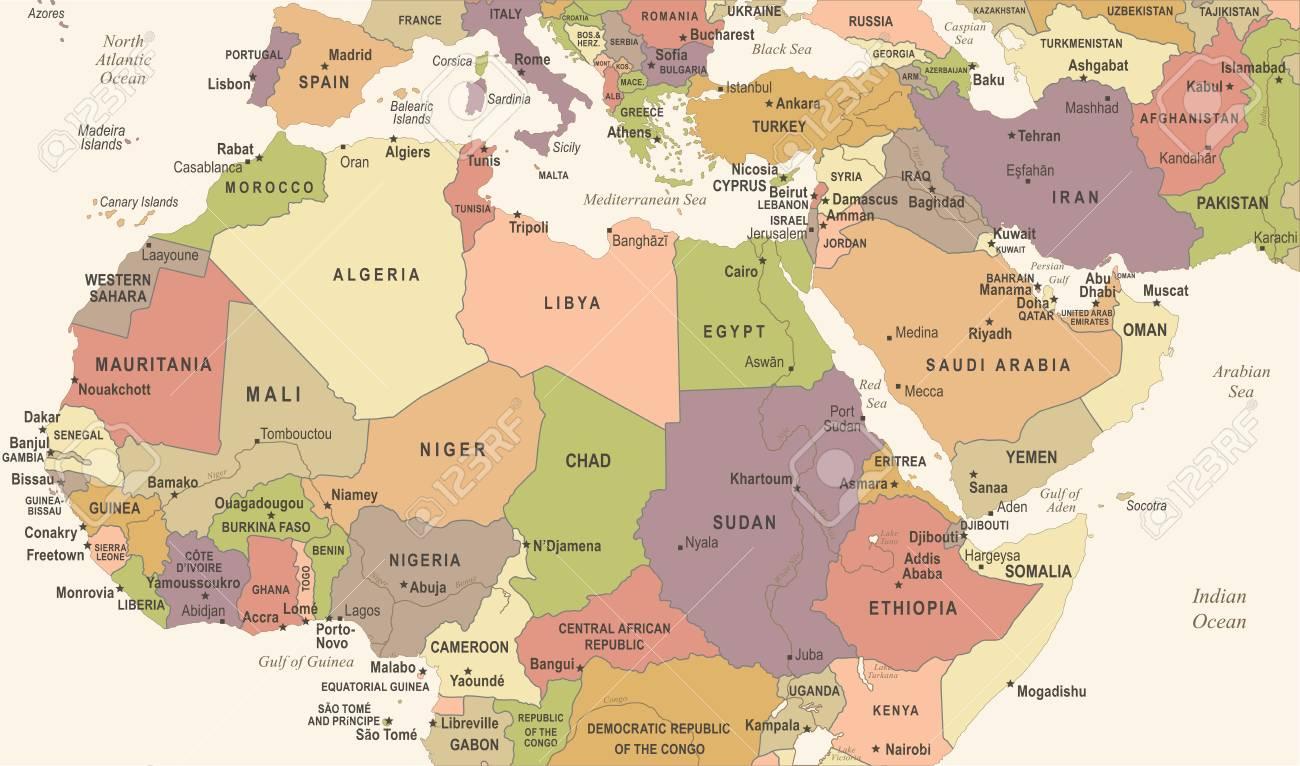 carte d afrique du nord North Africa Map   Vintage Detailed Vector Illustration Royalty