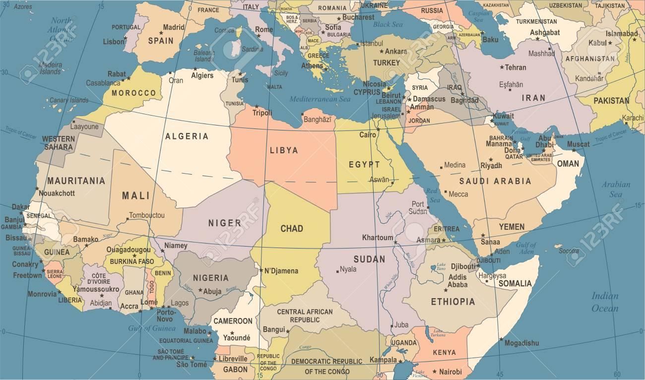 Mapa Africa Del Norte.Mapa Del Norte De Africa Vintage Detallada Ilustracion Vectorial Ilustraciones Vectoriales Clip Art Vectorizado Libre De Derechos Image 86373349