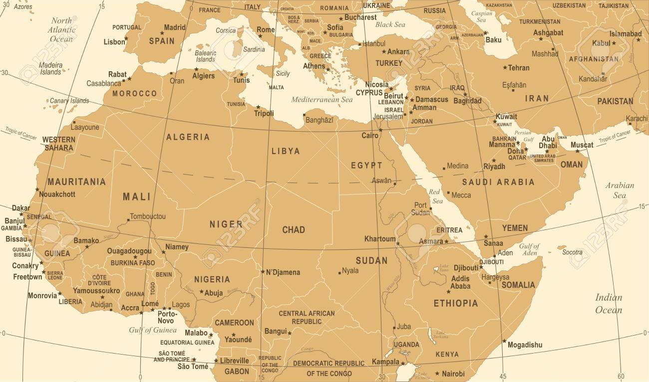 North Africa Map Vintage Detailed Vector Illustration Royalty Free