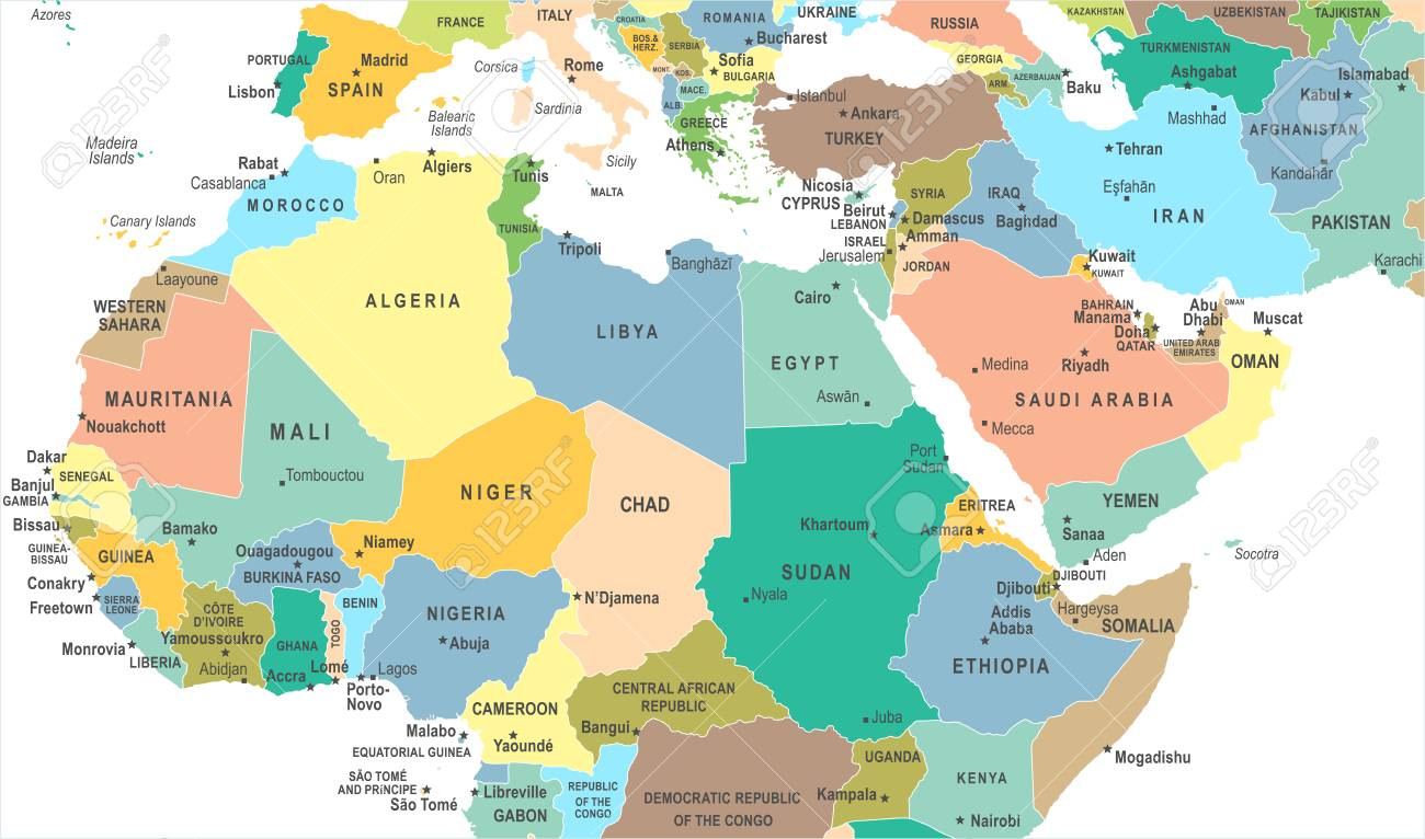North Africa Map Detailed Vector Illustration Royalty Free