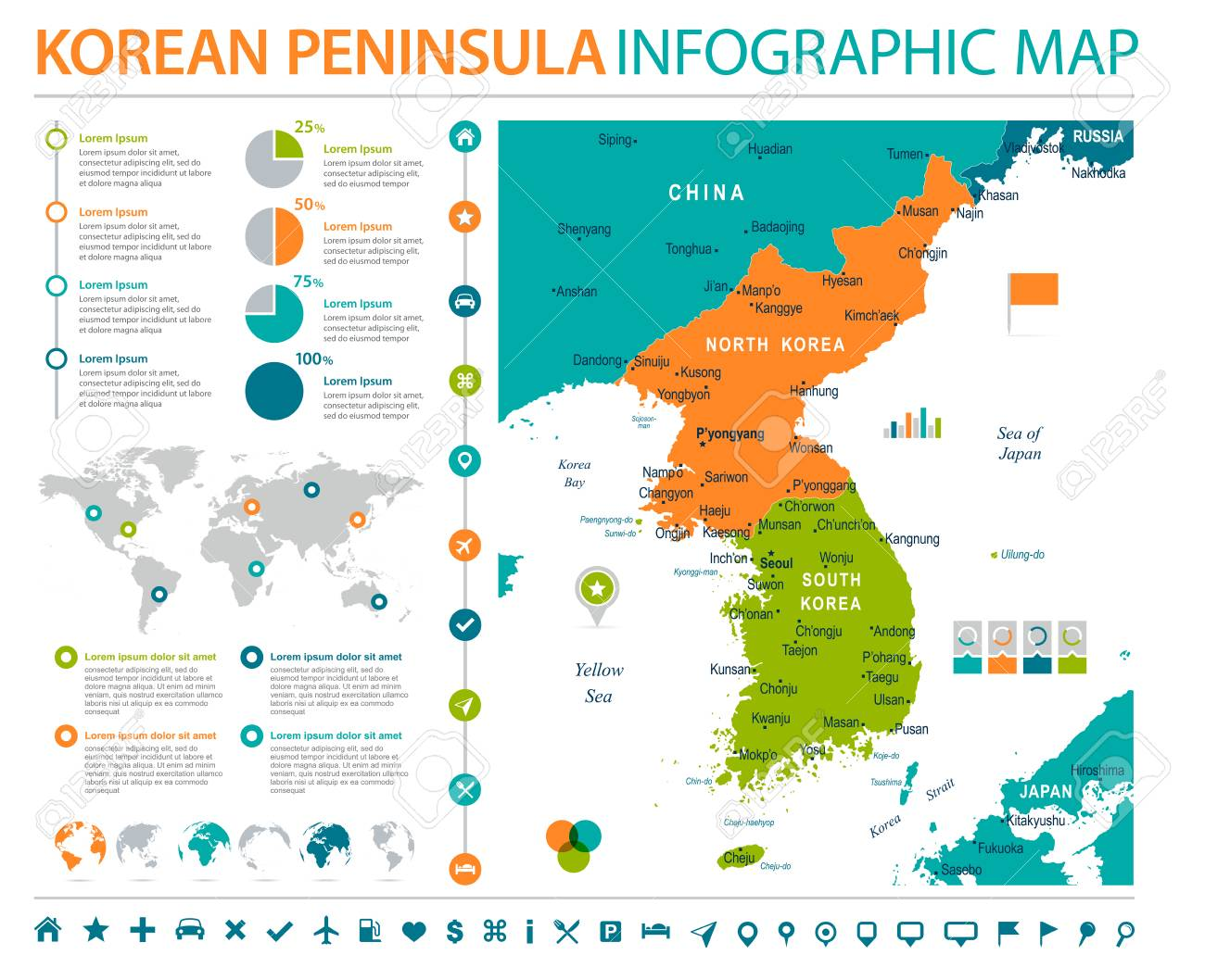 Korean peninsula map detailed info graphic vector illustration korean peninsula map detailed info graphic vector illustration stock vector 86738140 gumiabroncs Gallery
