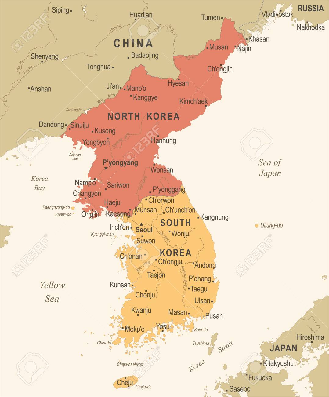 Korean Peninsula Map - Vintage Detailed Vector Illustration Royalty Free  Cliparts, Vectors, And Stock Illustration. Image 86738151.