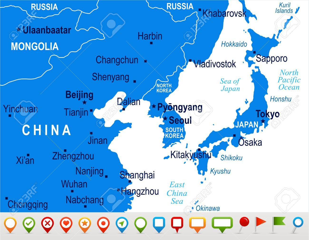 North Korea South Korea Japan China Russia Mongolia Map Detailed