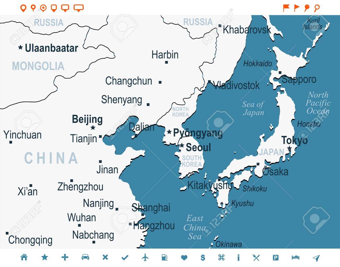 North Korea South Korea Japan China Russia Mongolia Map - Detailed ...
