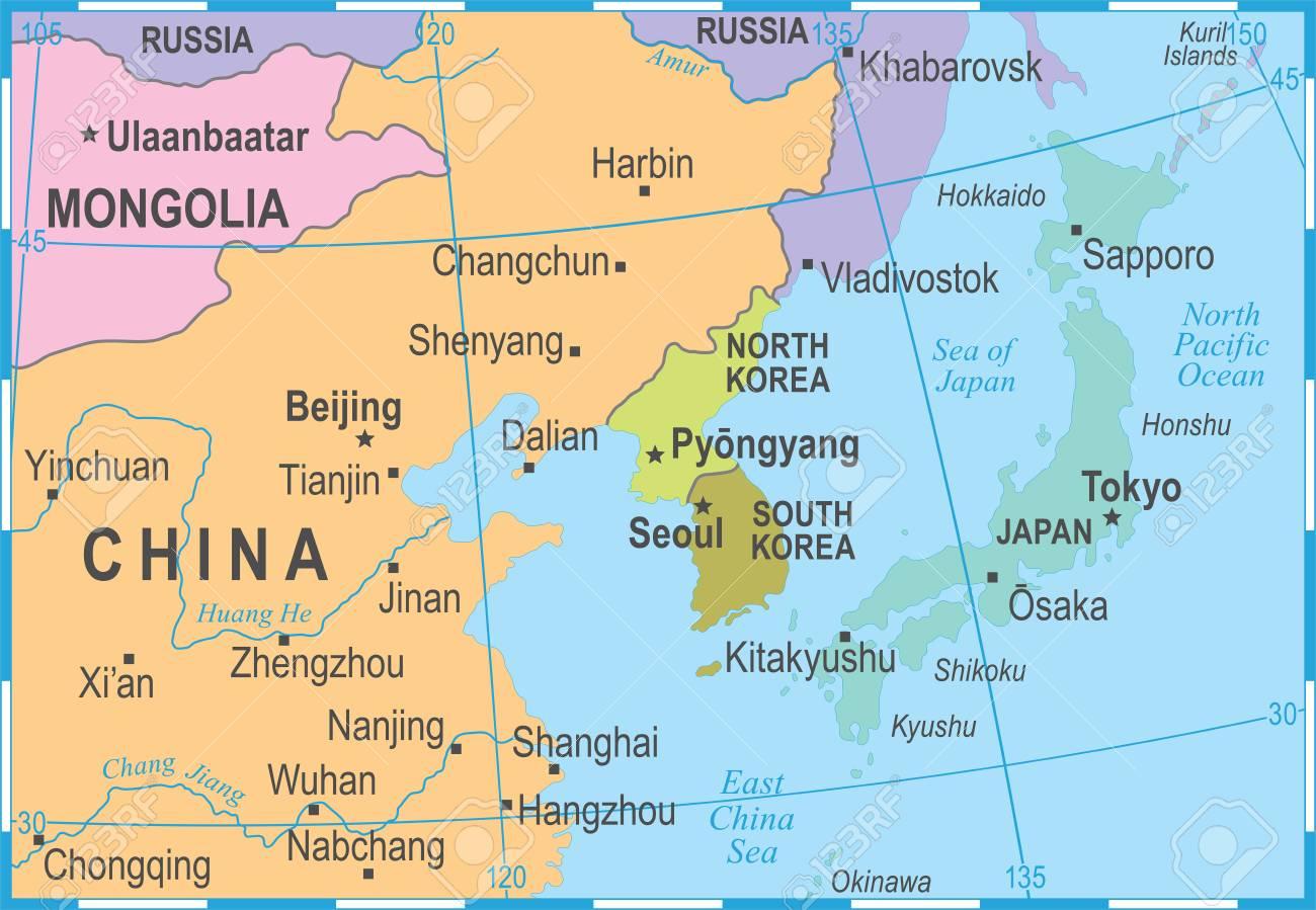 Carte Chine Japon.Coree Du Nord Coree Du Sud Japon Chine Russie Mongolie Carte Detaillee De L Illustration Vectorielle