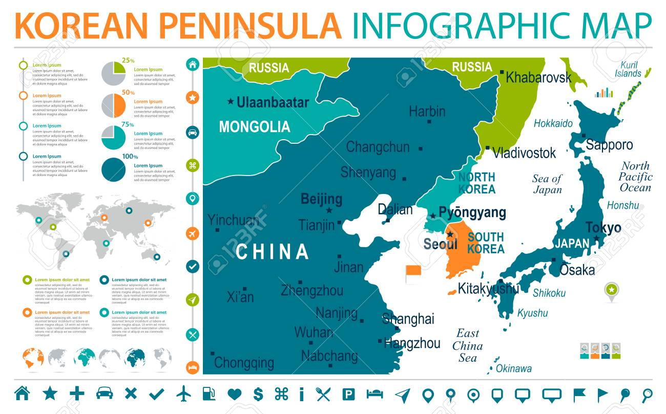 North Korea South Korea Japan China Russia Mongolia Map   Detailed Info  Graphic Vector Illustration Stock