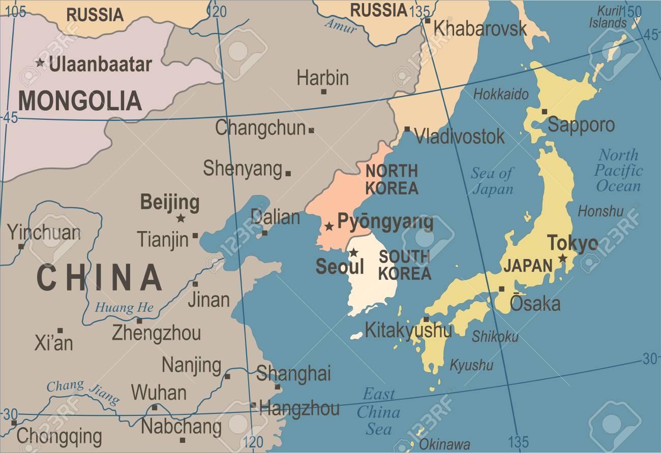 North Korea South Korea Japan China Russia Mongolia Map Vintage